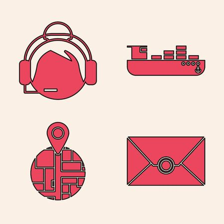 Set Envelope , Support operator in touch, Cargo ship with boxes delivery service and Placeholder on map paper in perspective icon. Vector