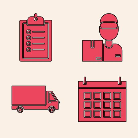 Set Calendar , Verification of delivery list clipboard , Delivery man with cardboard boxes and Delivery cargo truck vehicle icon. Vector