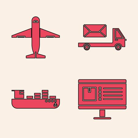 Set Computer monitor with app delivery tracking , Plane , Post truck and Cargo ship with boxes delivery service icon. Vector