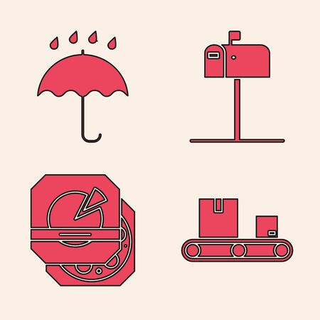Set Conveyor belt with cardboard box , Umbrella and rain drops , Open mail box and Pizza in cardboard box icon. Vector
