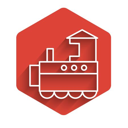 White line Toy train icon isolated with long shadow. Red hexagon button. Vector Illustration Standard-Bild - 140072061