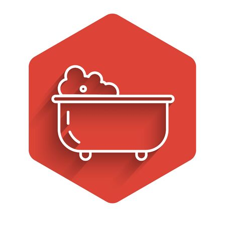 White line Baby bathtub with foam bubbles inside icon isolated with long shadow. Red hexagon button. Vector Illustration