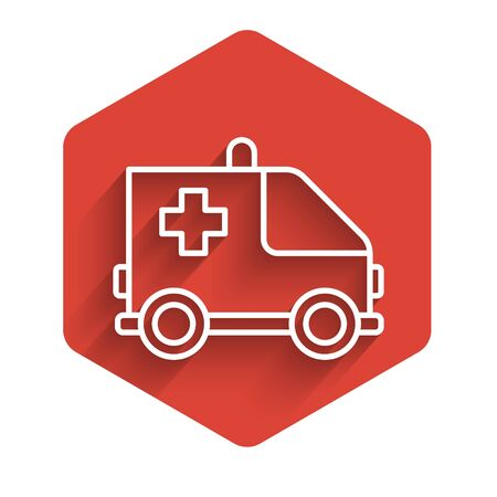 White line Ambulance and emergency car icon isolated with long shadow. Ambulance vehicle medical evacuation. Red hexagon button. Vector Illustration Ilustracja
