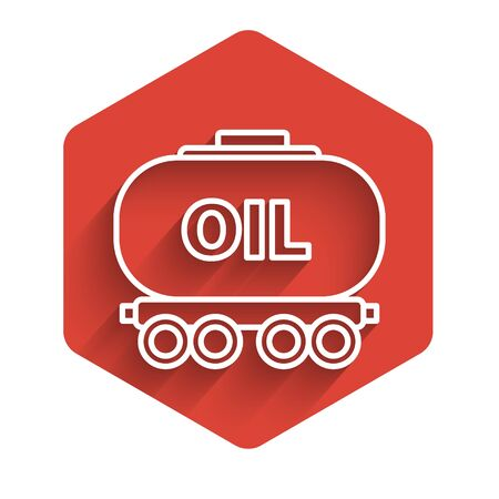 White line Oil railway cistern icon isolated with long shadow. Train oil tank on railway car. Rail freight. Oil industry. Red hexagon button. Vector Illustration Standard-Bild - 140070798