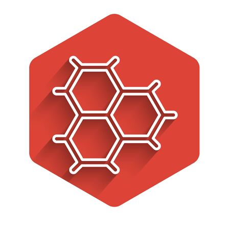 White line Chemical formula consisting of benzene rings icon isolated with long shadow. Red hexagon button. Vector Illustration