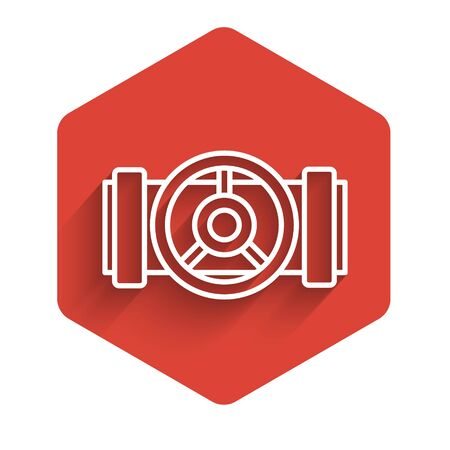 White line Industry metallic pipes and valve icon isolated with long shadow. Red hexagon button. Vector Illustration