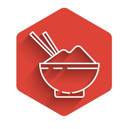 White line Rice in a bowl with chopstick icon isolated with long shadow. Traditional Asian food. Red hexagon button. Vector Illustration