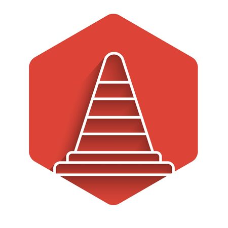 White line Traffic cone icon isolated with long shadow background. Red hexagon button. Vector Illustration
