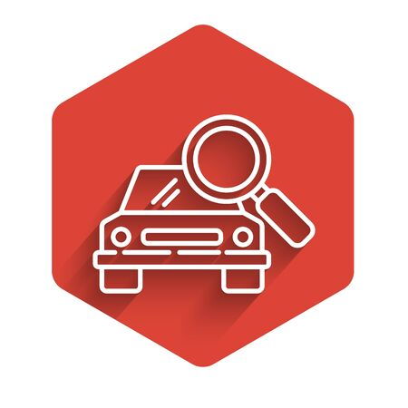White line Car search icon isolated with long shadow background. Magnifying glass with car. Red hexagon button. Vector Illustration Illusztráció