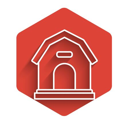 White line Dog house icon isolated with long shadow. Dog kennel. Red hexagon button. Vector Illustration Illustration