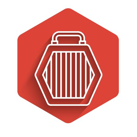 White line Pet carry case icon isolated with long shadow. Carrier for animals, dog and cat. Container for animals. Animal transport box. Red hexagon button. Vector Illustration Standard-Bild - 140072620