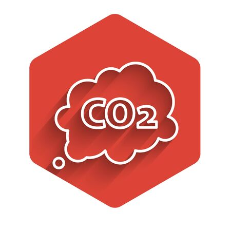 White line CO2 emissions in cloud icon isolated with long shadow. Carbon dioxide formula symbol, smog pollution concept, environment concept. Red hexagon button. Vector Illustration