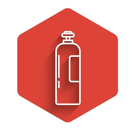 White line Industrial gas cylinder tank for all inert and mixed inert gases icon isolated with long shadow. Red hexagon button. Vector Illustration