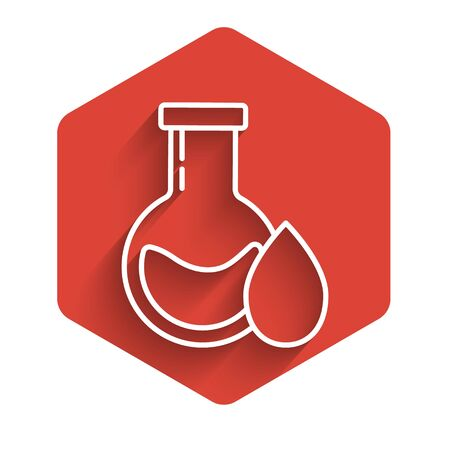 White line Oil petrol test tube icon isolated with long shadow. Red hexagon button. Vector Illustration