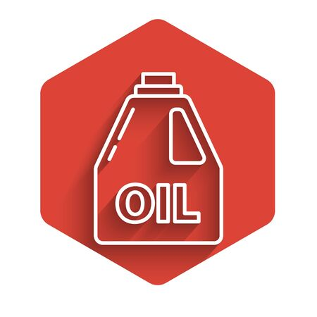 White line Plastic canister for motor machine oil icon isolated with long shadow. Oil gallon. Oil change service and repair. Red hexagon button. Vector Illustration