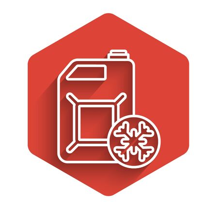 White line Antifreeze canister icon isolated with long shadow. Auto service. Car repair. Red hexagon button. Vector Illustration