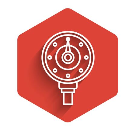 White line Motor gas gauge icon isolated with long shadow. Empty fuel meter. Full tank indication. Red hexagon button. Vector Illustration