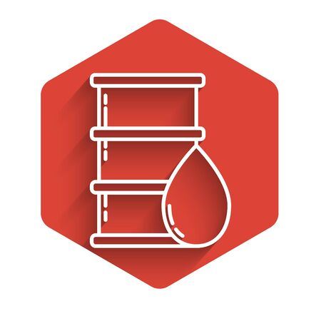 White line Barrel oil icon isolated with long shadow. Red hexagon button. Vector Illustration Stock Illustratie
