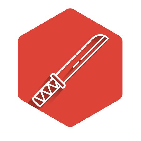 White line Traditional Japanese katana icon isolated with long shadow. Japanese sword. Red hexagon button. Vector Illustration