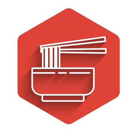 White line Asian noodles in bowl and chopsticks icon isolated with long shadow. Street fast food. Korean, Japanese, Chinese food. Red hexagon button. Vector Illustration
