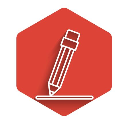 White line Pencil with eraser and line icon isolated with long shadow. Education sign. Drawing and educational tools. Red hexagon button. Vector Illustration