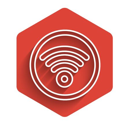 White line WiFi wireless internet network symbol icon isolated with long shadow. Red hexagon button. Vector Illustration 일러스트
