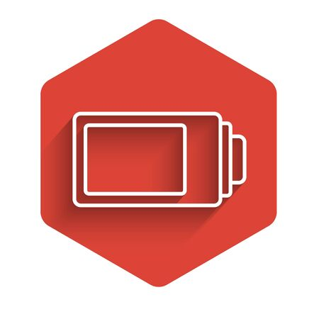 White line Battery charge level indicator icon isolated with long shadow. Red hexagon button. Vector Illustration Ilustracja
