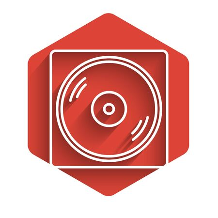 White line Vinyl player with a vinyl disk icon isolated with long shadow. Red hexagon button. Vector Illustration Illustration