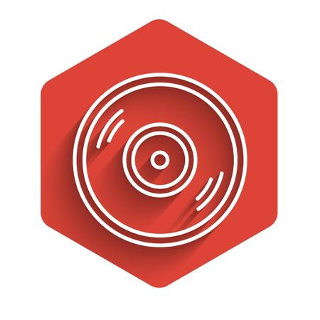 White line Vinyl disk icon isolated with long shadow. Red hexagon button. Vector Illustration Illustration