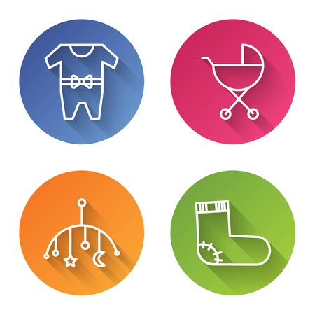 Set line Baby clothes, Baby stroller, Baby crib hanging toys and Baby socks clothes. Color circle button. Vector Standard-Bild - 140072241