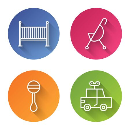 Set line Baby crib cradle bed, Baby stroller, Rattle baby toy and Toy car. Color circle button. Vector Standard-Bild - 140070935