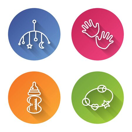Set line Baby crib hanging toys, Baby hands print, Baby bottle and Rattle baby toy. Color circle button. Vector