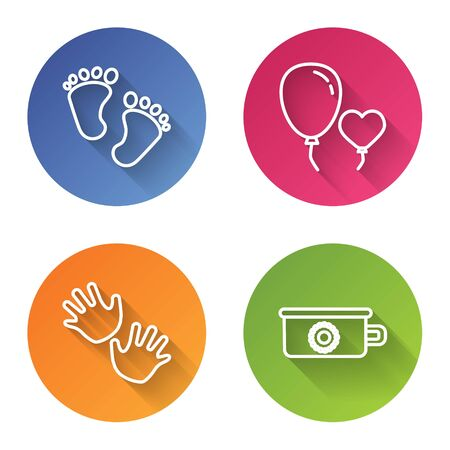 Set line Baby footprints, Balloons in form of heart, Baby hands print and Baby potty. Color circle button. Vector