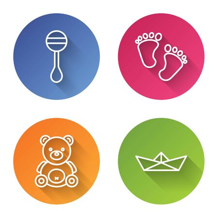 Set line Rattle baby toy, Baby footprints, Teddy bear plush toy and Folded paper boat. Color circle button. Vector