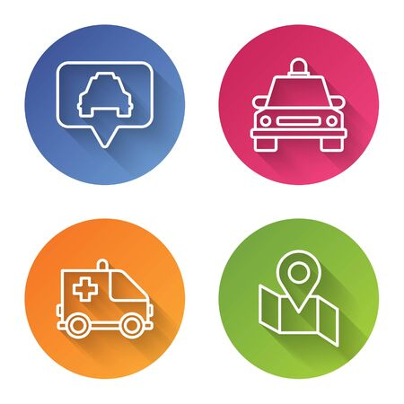 Set line Map pointer with taxi, Taxi car, Ambulance and emergency car and Folded map with location marker. Color circle button. Vector