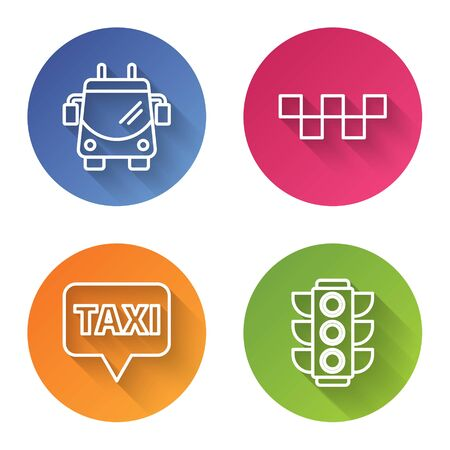 Set line Trolleybus, Taxi car roof, Map pointer with taxi and Traffic light. Color circle button. Vector Illustration