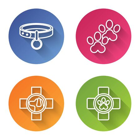 Set line Collar with name tag, Paw print, Veterinary clinic symbol and Veterinary clinic symbol. Color circle button. Vector