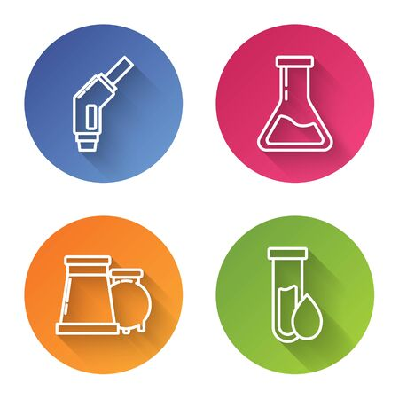 Set line Gasoline pump nozzle, Test tube and flask, Oil and gas industrial factory building and Oil petrol test tube. Color circle button. Vector Stock Illustratie