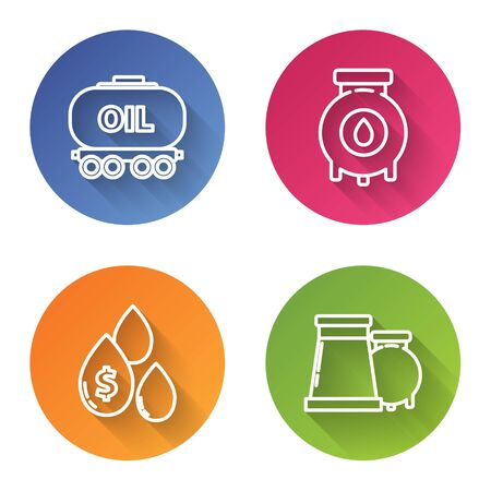 Set line Oil railway cistern, Oil and gas industrial factory building, Oil drop with dollar symbol and Oil and gas industrial factory building. Color circle button. Vector