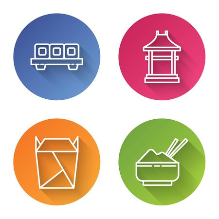 Set line Sushi on cutting board, Japan Gate, Rstaurant opened take out box filled and Rice in a bowl with chopstick. Color circle button. Vector