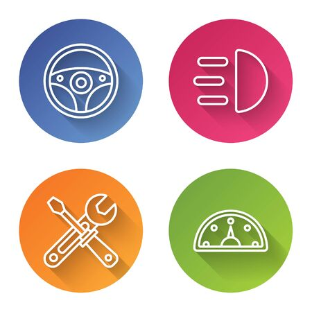 Set line Steering wheel, High beam, Screwdriver and wrench tools and Speedometer. Color circle button. Vector
