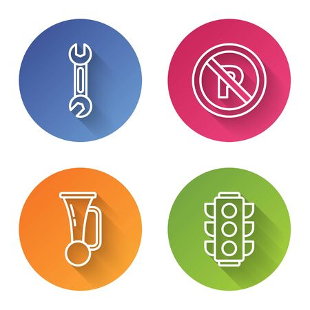 Set line Wrench, No Parking or stopping, Signal horn on vehicle and Traffic light. Color circle button. Vector