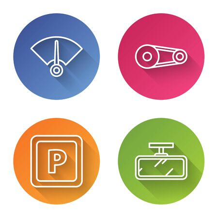 Set line Speedometer, Timing belt kit, Parking and Car mirror. Color circle button. Vector