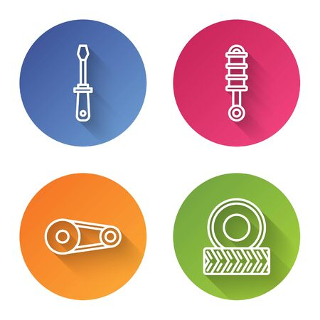 Set line Screwdriver, Shock absorber, Timing belt kit and Car wheel. Color circle button. Vector