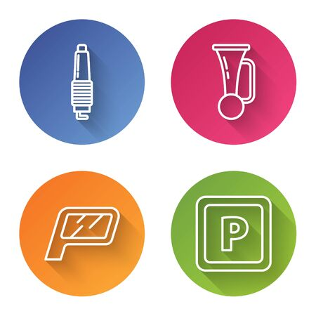 Set line Car spark plug, Signal horn on vehicle, Car mirror and Parking. Color circle button. Vector Ilustracja