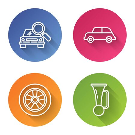 Set line Car search, Car, Car wheel and Signal horn on vehicle. Color circle button. Vector