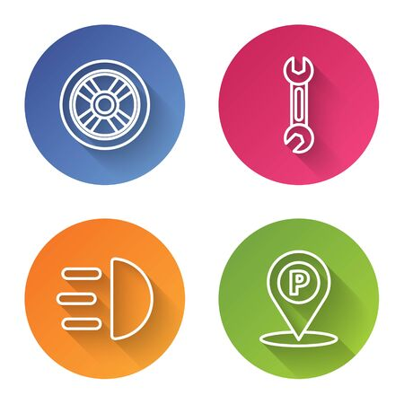Set line Car wheel, Wrench, High beam and Location with parking. Color circle button. Vector Ilustração