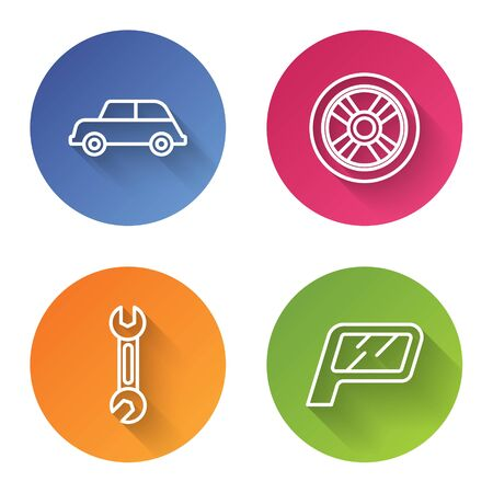 Set line Car, Car wheel, Wrench and Car mirror. Color circle button. Vector Ilustracja