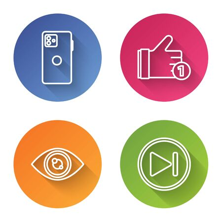 Set line Smartphone, mobile phone, Hand like, Eye and Fast forward. Color circle button. Vector Vettoriali