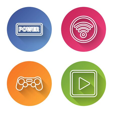Set line Power button, Wi-Fi wireless internet network, Gamepad and Play in square. Color circle button. Vector